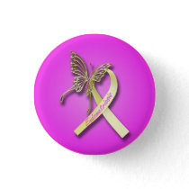 Endometriosis Ribbon with Gold Butterfly Pinback Button