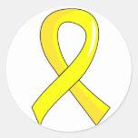 Endometriosis Yellow Ribbon 3 Classic Round Sticker