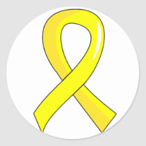 Endometriosis Yellow Ribbon 3 Classic Round Sticker