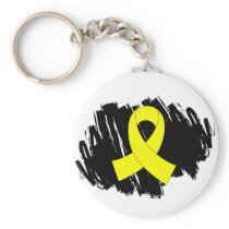 Endometriosis Yellow Ribbon With Scribble Keychain