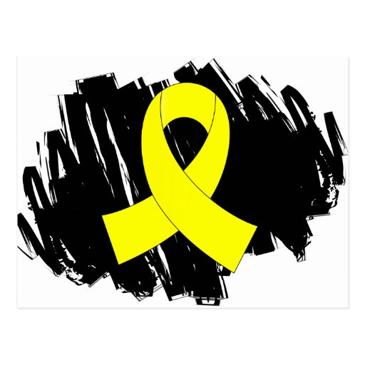 Endometriosis Yellow Ribbon With Scribble Postcards
