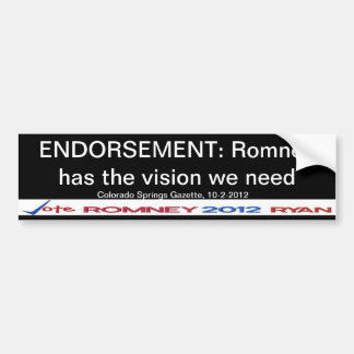 Endorsement Romney! CO Springs Gazette Sticker