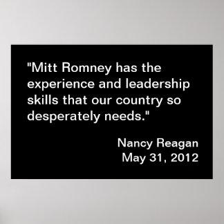 Endoso de Mitt Romney de Nancy Reagan Poster