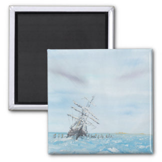 Endurance trapped by the Antarctic Ice. Painted 2 Inch Square Magnet