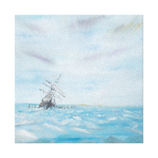 Endurance trapped by the Antarctic Ice. Painted Canvas Print