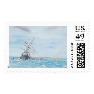 Endurance trapped by the Antarctic Ice. Painted Postage
