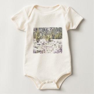 Enebros y roca de la lava en acuarela body para bebé