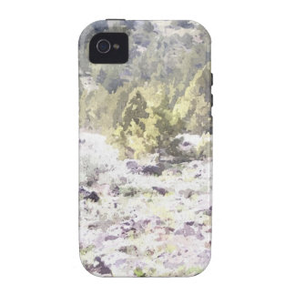 Enebros y roca de la lava en acuarela iPhone 4 funda