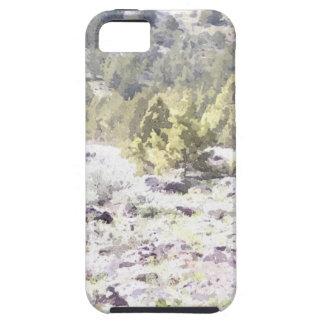 Enebros y roca de la lava en acuarela iPhone 5 carcasa