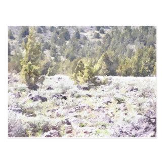 Enebros y roca de la lava en acuarela tarjeta postal