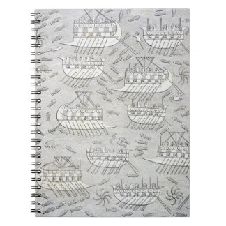 Enemies of the Assyrians taking refuge in ships, p Spiral Notebook