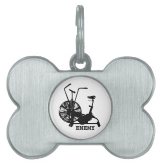 Enemigo de la bici del aire - silueta negra placa de nombre de mascota