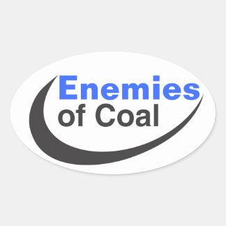 Enemigos del carbón pegatina ovalada