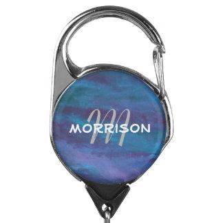 Energetic - Blue Purple Teal Abstract Monogram Badge Holder