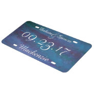 Energetic Blue Purple Teal Texas Storm Wedding License Plate at Zazzle
