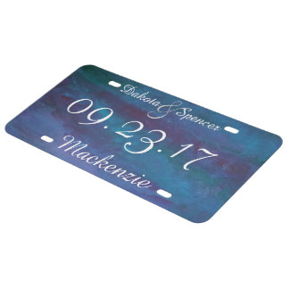 Energetic Blue Purple Teal Texas Storm Wedding License Plate