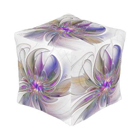 Energetic, Colorful Abstract Fractal Art Flower Pouf