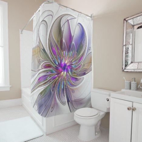 Energetic, Colorful Abstract Fractal Art Flower Shower Curtain