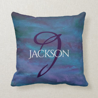 Energetic Decor | Custom Blue Purple Teal Ombre Throw Pillow