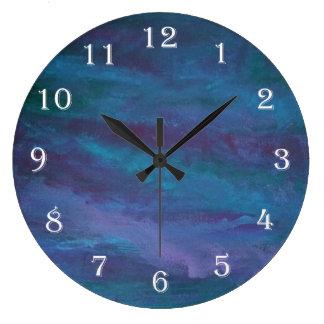 Energetic Jewel Tone Blue Purple Teal Large Clock