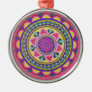 Energetic mandala round designed round metal christmas ornament