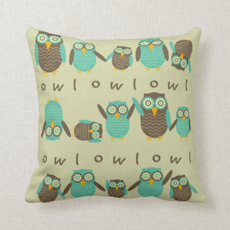 Energetic Owls Throw Pillow