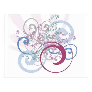 Energetic Swirls with Plants Postcard