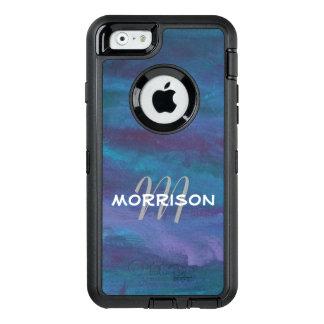 Energetic Texas Night Rain Storm Abstract Monogram OtterBox Defender iPhone Case