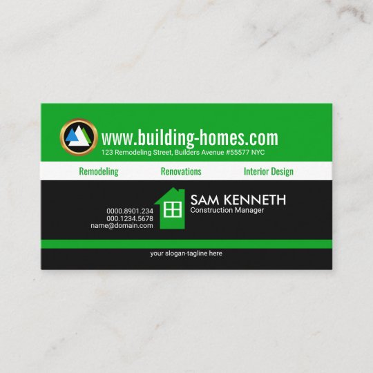 Energetic Youthful Retro Green Name Contractor Business Card