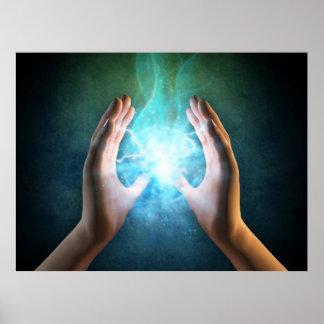 Energi curativo de las manos de Reiki en la cura d Póster