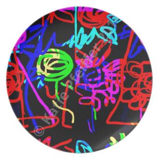Energía abstracta del arte pop de la MOD del amor Platos Para Fiestas
