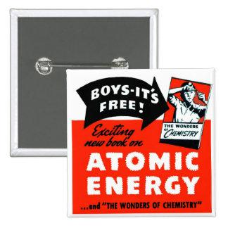 ¡Energía atómica del vintage del kitsch para los n Pin Cuadrado