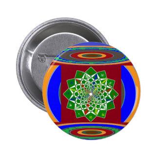 Energía de la rueda de la FLOR CHAKRA: Verde esmer Pin Redondo De 2 Pulgadas