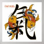 Energía de los pescados de Koi del kanji Impresiones
