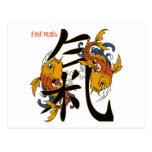 Energía de los pescados de Koi del kanji Postales