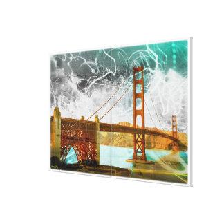energía de puente Golden Gate del vintage en San F Impresión En Lienzo