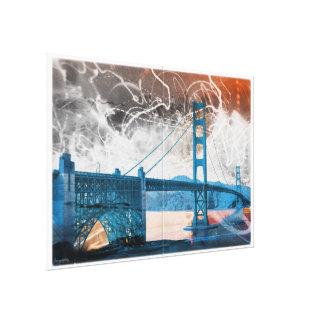 energía de puente Golden Gate del vintage en San F Impresión En Tela