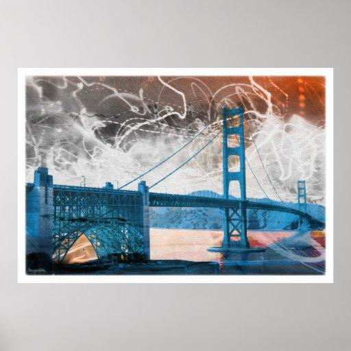 energía de puente Golden Gate del vintage en San F Póster
