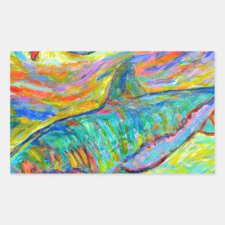 Energía del tiburón rectangular pegatinas