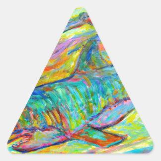 Energía del tiburón pegatinas triangulo