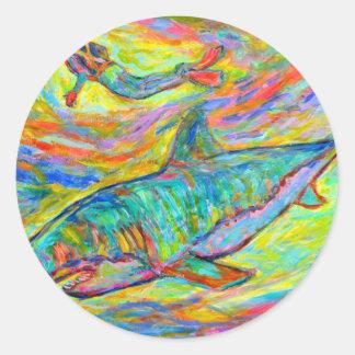 Energía del tiburón pegatinas redondas