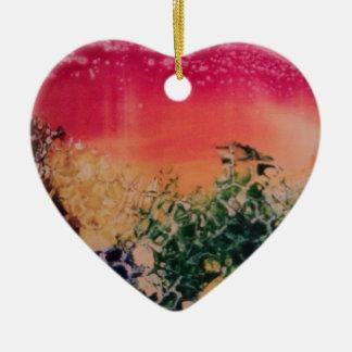 Energía en las piedras adorno navideño de cerámica en forma de corazón