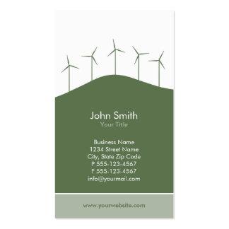 Energía eólica - plantilla verde de la tarjeta de tarjetas de visita