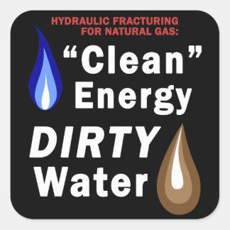 """""""Energía limpia"""", agua SUCIA - pegatinas cuadrados Calcomanía Cuadradas Personalizadas"""