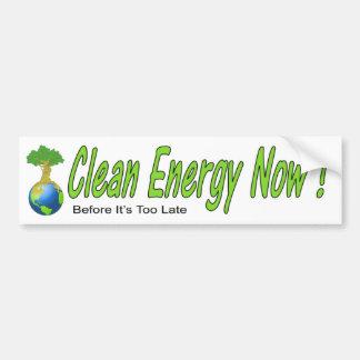 ¡Energía limpia ahora! Pegatina Para Auto