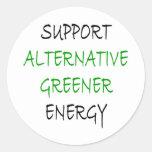Energía más verde alternativa de la ayuda etiqueta redonda