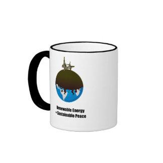 Energía renovable = paz sostenible tazas de café