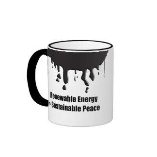 Energía renovable = paz sostenible tazas