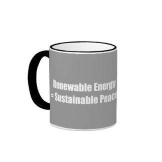 Energía renovable = paz sostenible taza de café