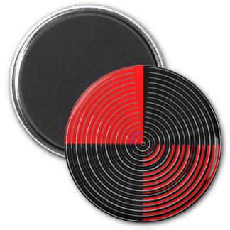 Energía roja Chakra - rayas negras de la plata n Imán Redondo 5 Cm